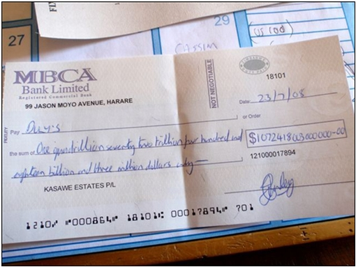 Cheque Written out in Zimbabwe mce_marker#039;s